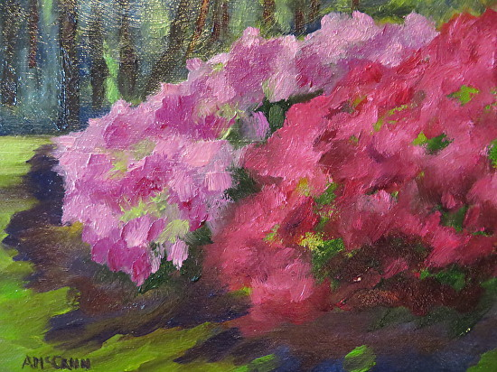 """Azaleas on the Creek I"" 5 X 7 Oil by Ann McCann (c) 2015"