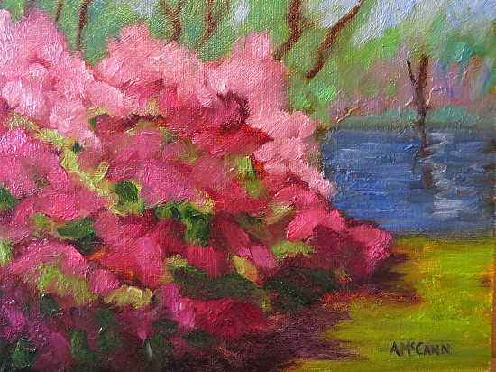 Azaleas on the Creek II 5 x 7 Oil by Ann McCann ©2015