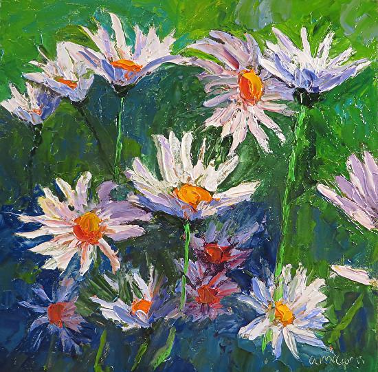 Abstract Daisies 8 x 8 Oil by Ann McCann ©2015
