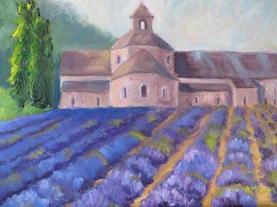 """French Lavender Abbey 9 X 12"""" Oil by Ann McCann (c) 2015"""