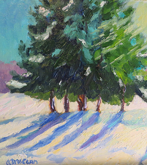 "Snow Shadows 8 X 8"" Oil by Ann McCann (c) 2015"