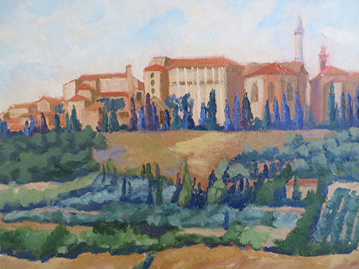 View of Pienza by Ann McCann 9 X 12 Oil  ©2015