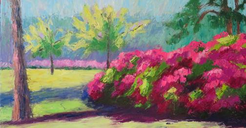 Amazing Azaleas 10 X 20 Oil by Ann McCann (c) 2015