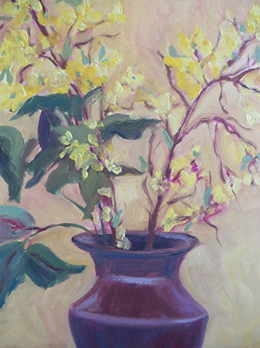Forsythias 16 X 20 Oil by Ann McCann  ©2015
