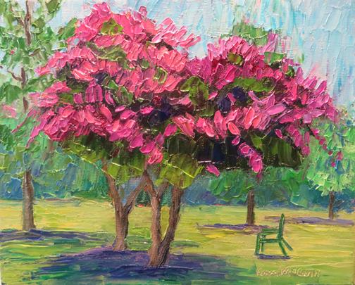 Pink Crape Myrtle 8 X 10 Oil by Ann McCann ©2015