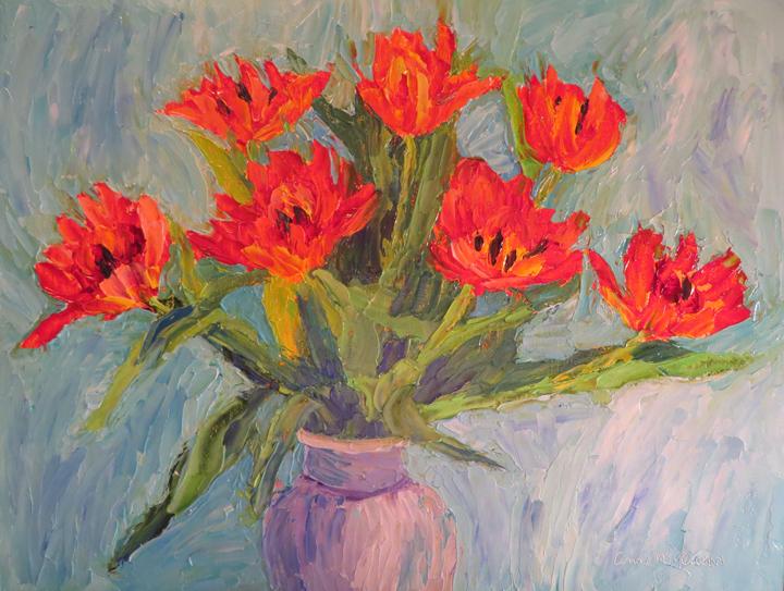 Orange tulips in Vase by Ann McCann (c) 2015