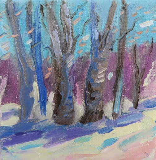 Aspen Shadows (c) Ann McCann 2015  Here are two mini paintings I made for Christmas presents.  They are only $65.  They are painted on the sides so you could just set them on an easel as well as hang them.