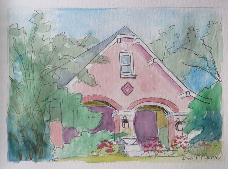 "(c)Ann McCann, ""My House,"" water color on paper, 5 X 7"""