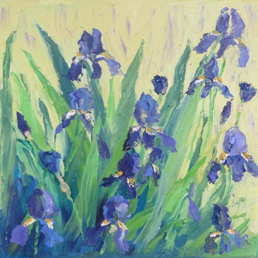 "(c)Ann McCann, ""Blue Iris Ladder,"" Oil on gallery wrap canvas, 12 X 12"""