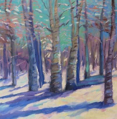 """(c)Ann McCann, Aspen Shadows on Snow, Oil on Gallery Wrap Canvas, 20 X 20"""""""