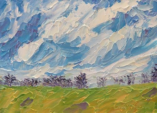 "(c)Ann McCann, ""Winter Sky,"" 5 X 7 oil, 2015"