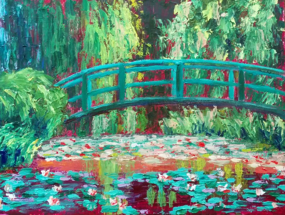 "(c)Ann McCann in the style of Claude Monet, ""Monet's Water Lily Pond Revisited,"" Oil on Linen Panel, 9 X 12"""