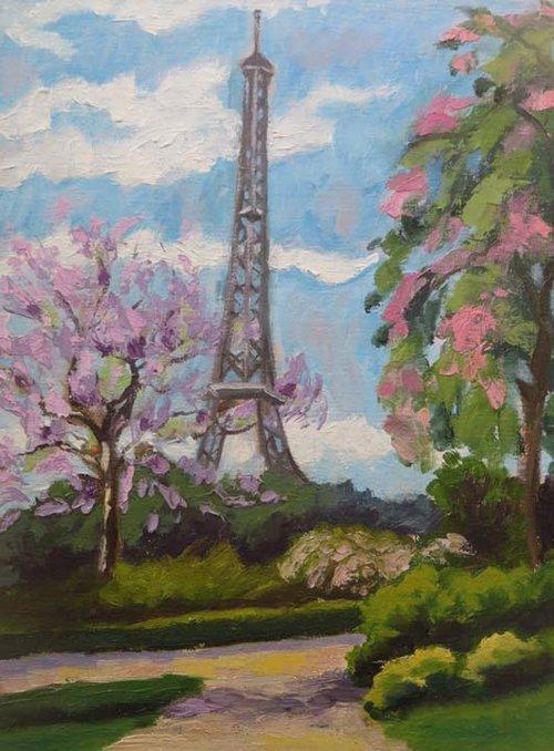(c)Ann McCann, Paris in the Spring, 9 X 12 oil on archival linen panel