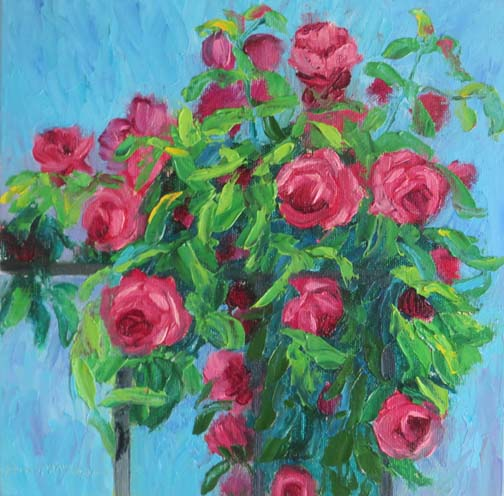 "(c)Ann McCann, ""Rose Trellis"" 10 X 10 oil on canvas"