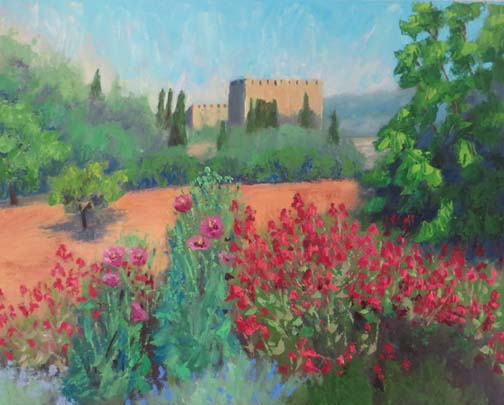 "(c)Ann McCann, 2016, ""Castle Flower Garden,"" oil on canvas, 20 X 20"""
