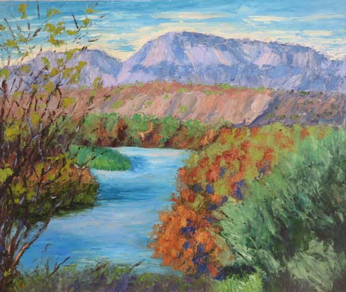 "(c)Ann McCann, ""Rio Grande at Big Bend,"" oil on archival linen panel, 20 X 24"""