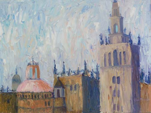 Gothic Sky (Sevilla) by Ann McCann 9 X 12 oil on linen panel (c)2017