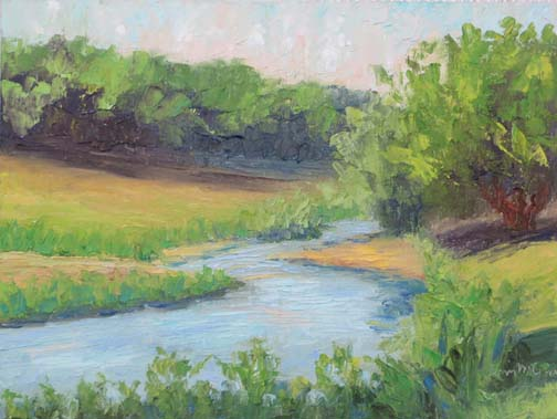 """Salado Swimmin Hole"" by Ann McCann 9 X 12 Oil (c)2017"