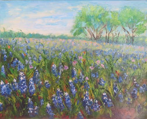 """Field of Bluebonnets"" by Ann McCann 16 X 20 Oil on canvas (c) 2017"