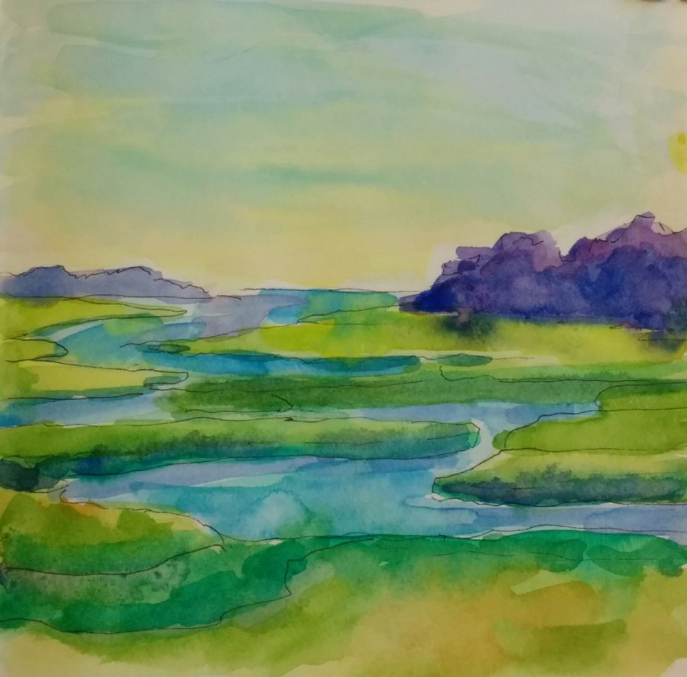 """Blackcreek Marsh"" by Ann McCann 5.5 X 5.5"" Watercolor (c) 2017"