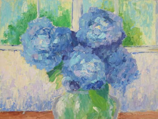 """Cobalt Hydrangea Interior"" by Ann McCann 9 X 12 Oil on archival panel (c) 2017"