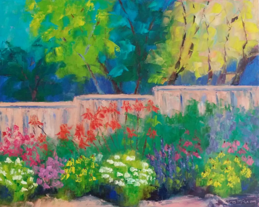 """""""Vivian's Cape Cod Garden"""" 16 X 20"""" Oil (c) Ann McCann 2017"""