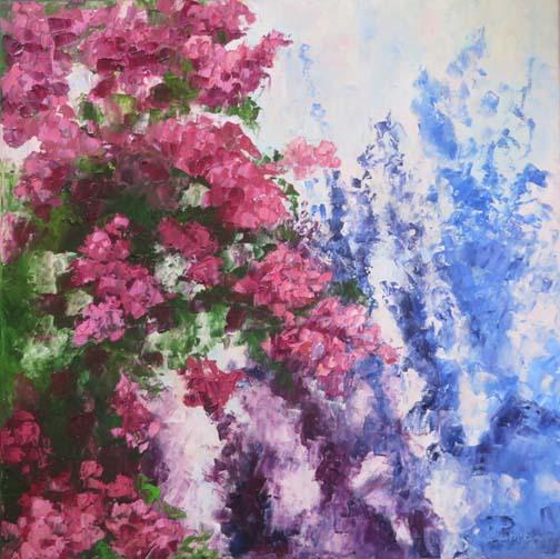 """""""Flower Shadows"""" 20 X 20 Oil (c)Ann McCann 2017"""