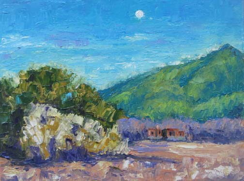 """Adobe Moon"" 9 X 12 Oil (c) Ann McCann 2018"