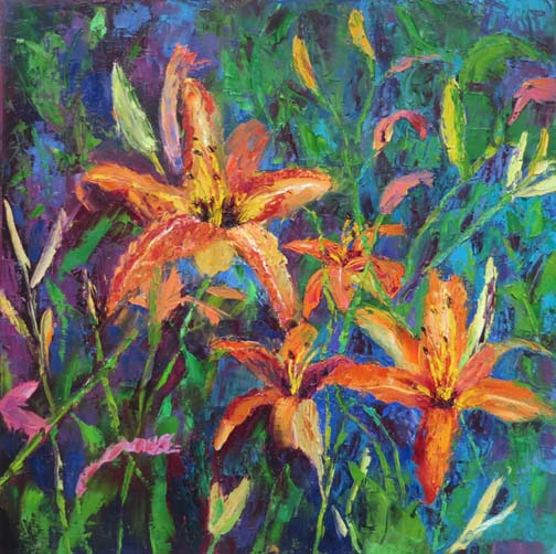 """Not So Docile Daylilies"" 20 X 20 Oil ©Ann McCann 2018"