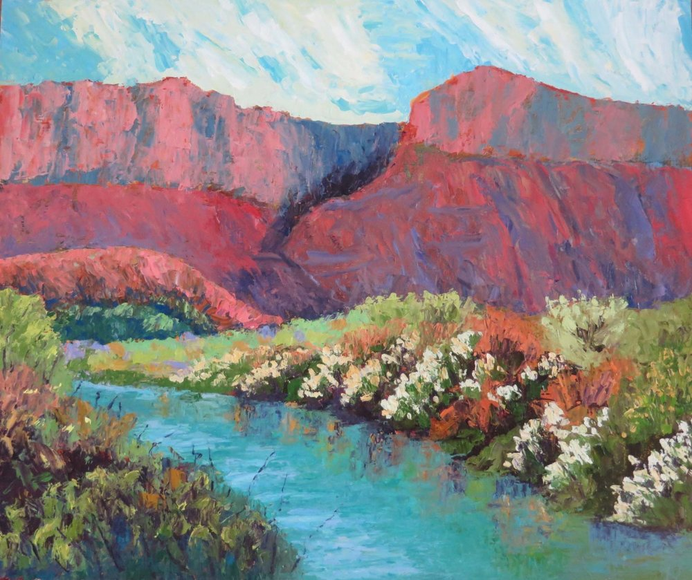 """White Flower Canyon"" 20 X 24 Oil (c) Ann McCann 2018"