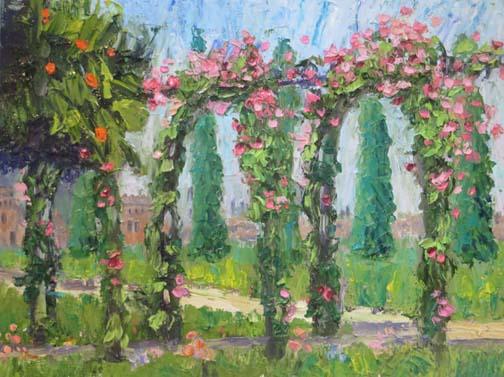 Alhambra Rose Garden 9 X 12 Oil (c)Ann McCann 2018