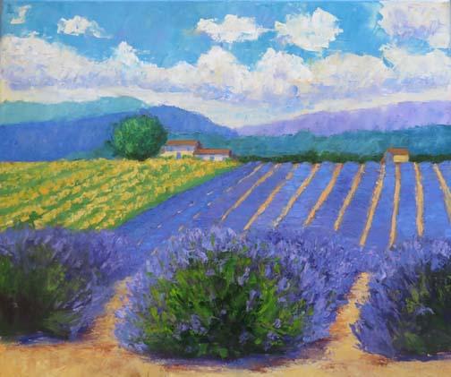 """""""Lavender Valley"""" 18 X 24 inch oil (c)Ann McCann 2018"""