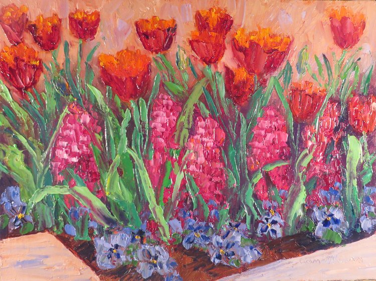 Spring 1- Orange tulips, pink hyacinths and pansies.jpg