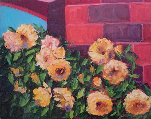 """Follow the Yellow Brick Roses"" 9 X 12 Oil (c) Ann McCann 2018"