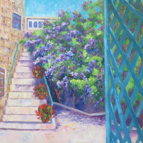 """""""Purple Vine Patio"""" 20 X 20 Oil(c) Ann McCann"""