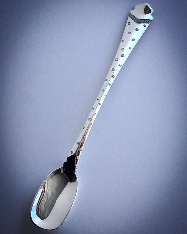 Spotted chased chutney spoon .... makes it taste even better!! 😃 ***************************************#handmade #madeinbritain #luxury #silverware #goldsmiths  #shannononeill #design #contemporysilver #bespokesilver #commission #handcrafted  #artistsoninstagram #style #craftsmanship #silverspoons #unique #condimentspoon #needthisinmylife