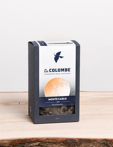 MONTE CARLO DECAF - Dark Roast Full Bodied, Chocolatey, Roasty - The quintessential classic decaf coffee with everything: rich flavor and aroma, full body and moderate acidity in perfect balance, yet without the caffeine. Monte Carlo is extraordinary in every brewing process from French press to filter coffee to espresso.COLOMBIA$14.00