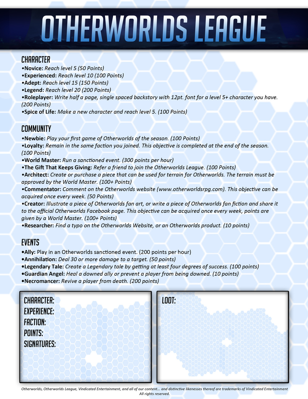 Otherworlds Tabletop RPG League Sheet