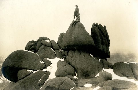 Eleanor Davis (seated) and Eleanor Bartlett (standing) on an outing to Sentinel Peak, 1921.
