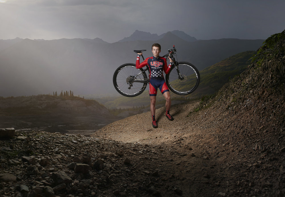 Composited portrait photogrpahy of cyclist Carson Beckett.