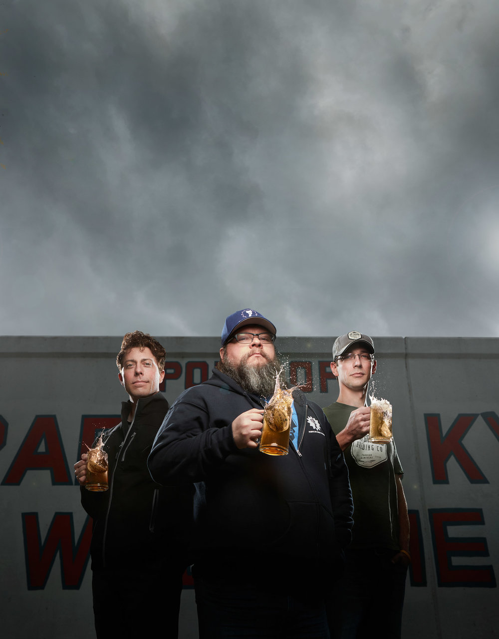 Cover photography for the April/ May 2016 issue of Score Magazine. Pictured from left to right is Daniel Sene with PSO, Todd Blume of Paducah Beer Werks, and Edward Musselman of Dry Ground Brewing.