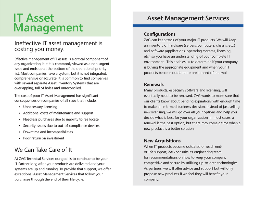 Asset Lifecycle Management ZAG Technical Services Inc
