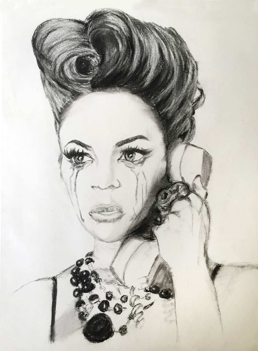 Yoncé - Charcoal & Graphite Drawing