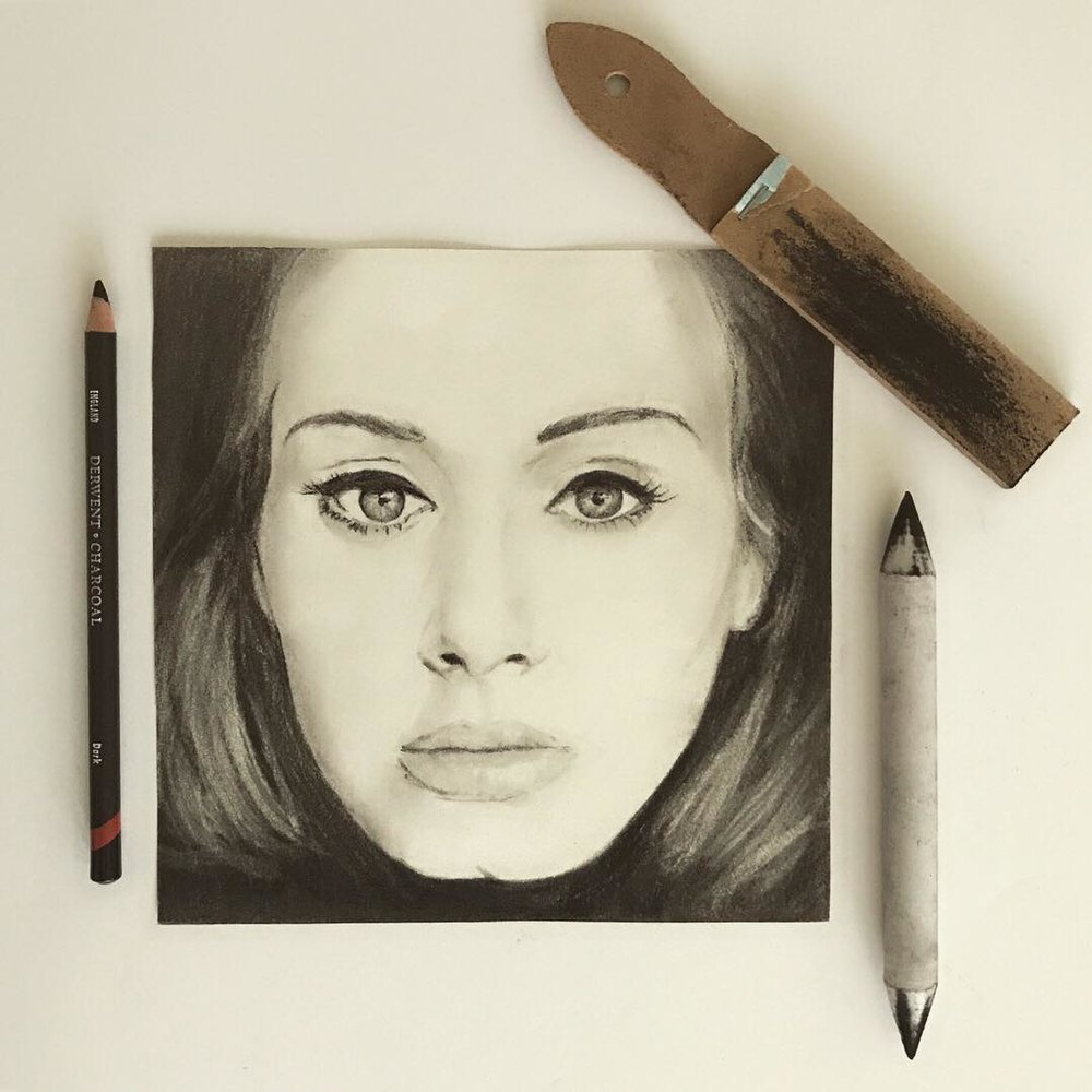 Adele - Charcoal & Graphite Drawing