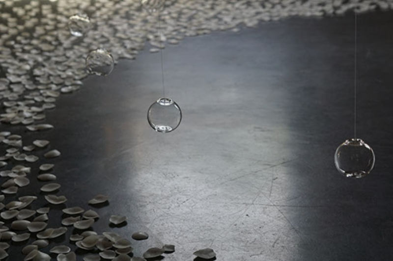 The Ephemeral Beauty in Nature.  Glass balls, brass, and wax. Nakanojo Biennale 2015.  (photo courtesy of artist)