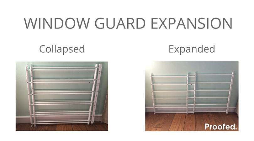 Safety window guard expanded and collapsed view.