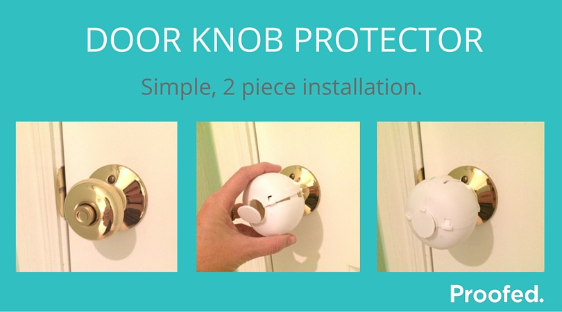 Round door knob protectors snap in place with easy install.