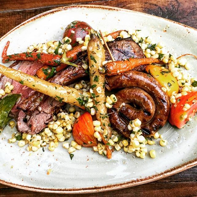 Moby's Mixed Lamb Grill: merguez sausage, chop and leg + grilled carrots, Balsam Farms corn, heirloom tomatoes, salsa verde #SundayFeast