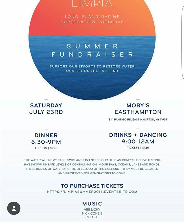 A few spots are still available for tonight's LIMPIA Summer Fundraiser. Come down to support cleaner waters and eternal #EastEndSummers. #mobysny @limpiah2o