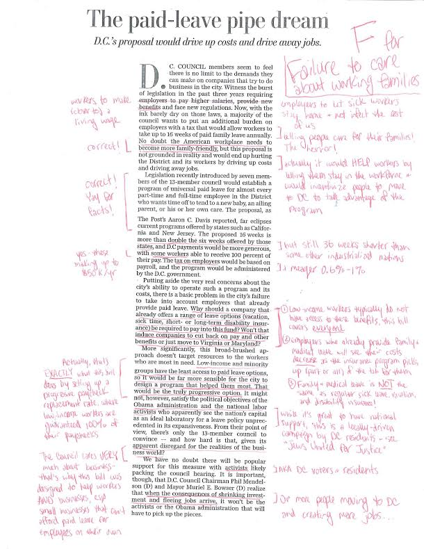 Corrections to Washington Post Editorial Michelle McGrain Ward 1